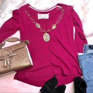 Anthropologie Tops - Anthro Saturday Sunday Pink Rustic Tee